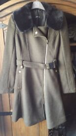 Khaki and black fur coat from Next size xs 6/8