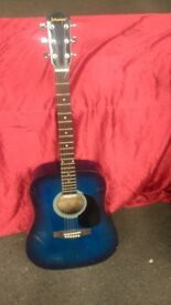 JOHNSON BY AXL BLUE 6-STRING ACOUSTIC GUITAR IN GOOD WORKING CONDITION AVAILABLE FOR SALE