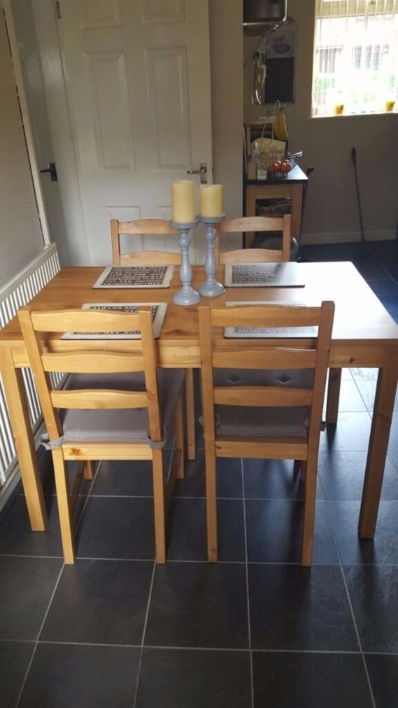 Pine table and 4 chairsin Atherton, ManchesterGumtree - Pine table comes with 4 pine chairs. Is in a really good condition. only selling because i needed a bigger one. £30 or nearest offer