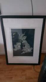 Framed poster, graphic map in grey