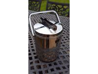 Retro 70's style ice bucket with lid and tongs