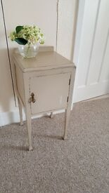 Antique/Vintage 'Country Grey' Hand Painted Pot Cupboard Bedside Table End/Side Table