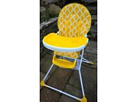 Mothercare high chair Yellow seat - removable tray