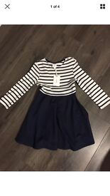 Jasper Conran blue and white Stripped dress NEW size 3-4 Years