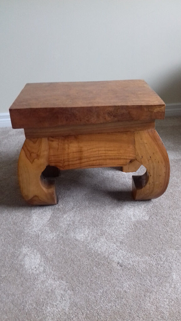 Stool or low table made from solid elm burr