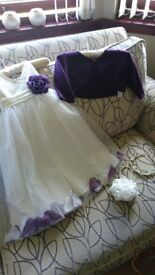 Debenhams Tigerlily Ivory/Plum Flowergirl Dress Age 3