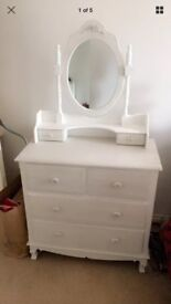 Makeup stand mirror drawers white shabby chic bedroom women's furniture