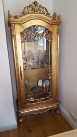 Beautiful bespoke gold and glass display cabinet, quality item, lockable door