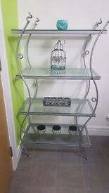 wraught iron and glass shelving unit