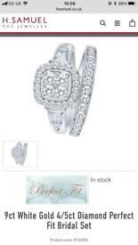 9ct White Gold 4/5ct Diamond engagement ring set