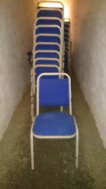 60x conference chairs, metal frame, fabric seat, stackable for events, village halls etc