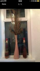Large vase with twigs and 2 glass bottle