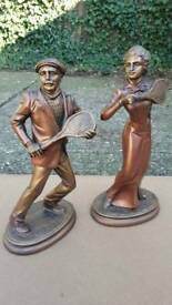 Pair of Tennis Themed Statues