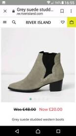 Grey studed suede boots