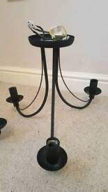 Black chandelier style ceiling lights x 2