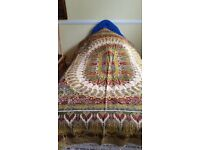 Vintage silk tapestry style bed throw/wall hanging