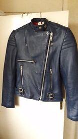 Blue leather female bikers jacket