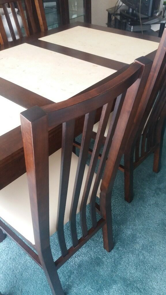 Dining Room Table 4 Chairs Small Sideboard Glass Front Drinks Cabinet Tall