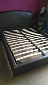 Free Leather King-size Bed Frame(Brown)