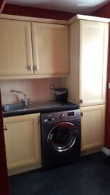 Fully fitted kitchen plus electric hood double oven/grill and gas hob.