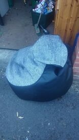Bean Bag: Black Leather with a Grey Woven Front