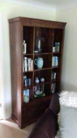 Dark wood book case,with bottom cupboard