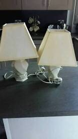 Pair of Cream pottery lamps and shades