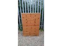 LARGE PINE 8 DRAWER CHEST OF DRAWERS