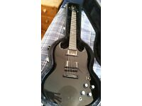 Epiphone Tony Iommi (Black Sabbath) Signature SG Black Guitar with Gibson USA pickups and hard case.