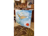 Very Large Abstract Multimedia Oil On Canvas Artist Trust