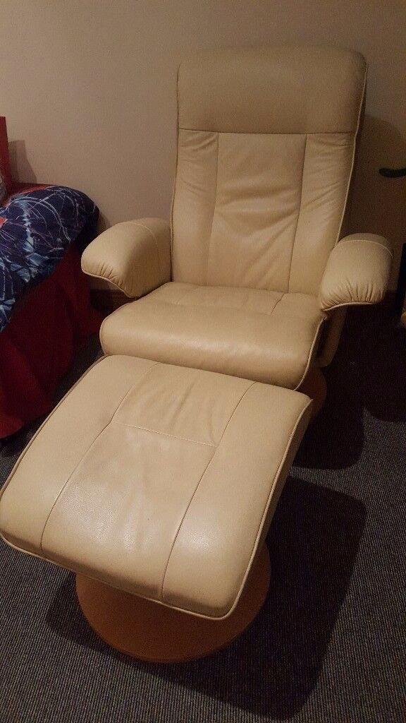 Cream recliner and footstool