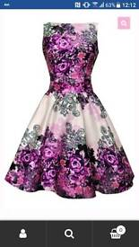 Size 16 Purple and Cream Floral Tea Dress