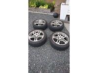 "Subaru Impreza WRX 17"" Alloy Wheels and Tyres, 5x100, 215/45, £250 or offers"