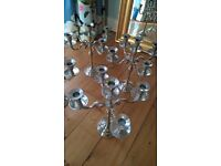 "GIANT CANDLESTICKS SILVER COLOURED TALL 14"" WEDDING TOP TABLE CHRISTMAS XMAS"