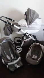 3 in 1 pram. Like new. Only selling as baby is to big for it now.