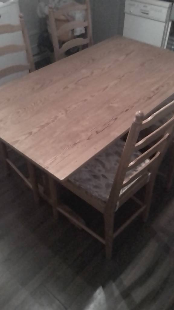 Ercol Dining Table And 4 Ladder Back Chairs Natural Finish In Ivybridge Or Liskeard