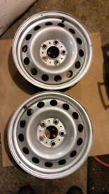 Mini countryman pair single steel wheels alloys 205 60 R16 will fit all mini cars