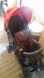 Tandem double pushchair