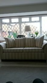 Bespoke double sofa cream and coffee stripe