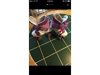 size 4 adjustable roller blades pink and white