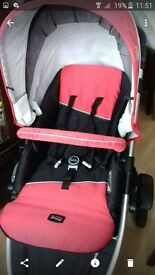 britax double pushchair in black /red.