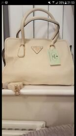 Cream Leather Prada bag, never been used, mint condition