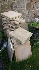 Buff textured paving slabs 450 x 450 mm
