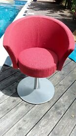 Coral Red swivel tub chair