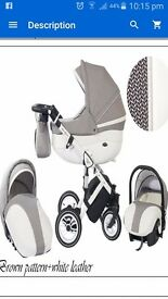 3in1 pram set white leather with a pattern