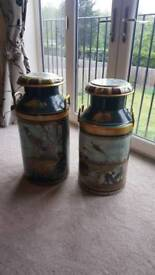 Pair of hand painted milk urns