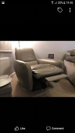 Grey Italian Leather Reclining Swivel Chair