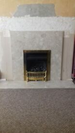 Solid cream marble fire surround and hearth
