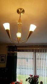 Triple ceiling glass and brass light