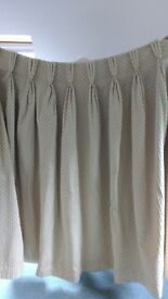 Beautiful tailor made pinch pleated curtains, cream with beige diamond patterns
